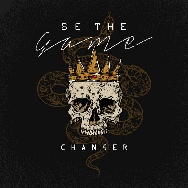 be the game changer slogan. snake with skull.rock and roll girl patch. typography graphic print, fashion drawing for t-shirts .vector stickers,print, patches vintage - snakes tattoos stock illustrations, clip art, cartoons, & icons