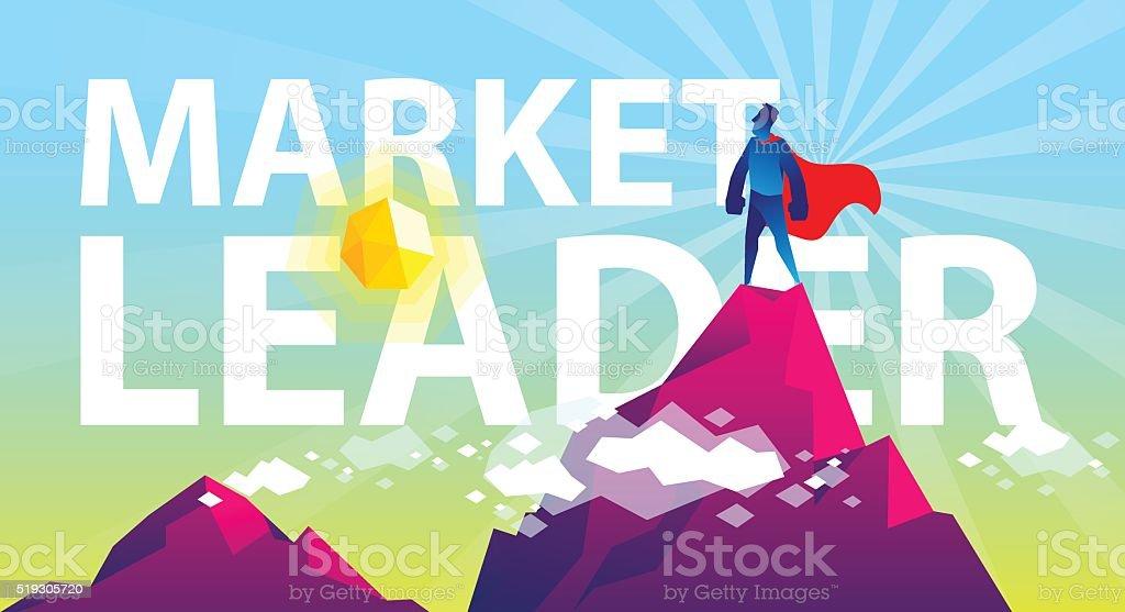 Be the market leader vector art illustration