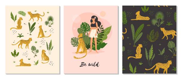be wild. - jaguar stock illustrations