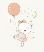 Cute  cartoon baby Bear ballerina. hand drawn vector illustration. Can be used for baby t-shirt print, fashion print design, kids wear, baby shower celebration greeting and invitation card.
