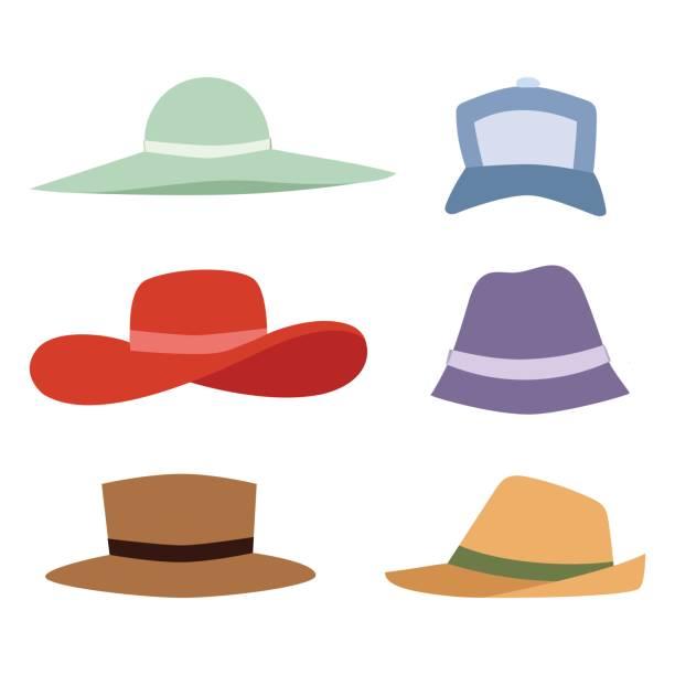 bildbanksillustrationer, clip art samt tecknat material och ikoner med tillbehör sommar hattar samling vektor mode stranden resa vackra huvudskydd cap - hatt
