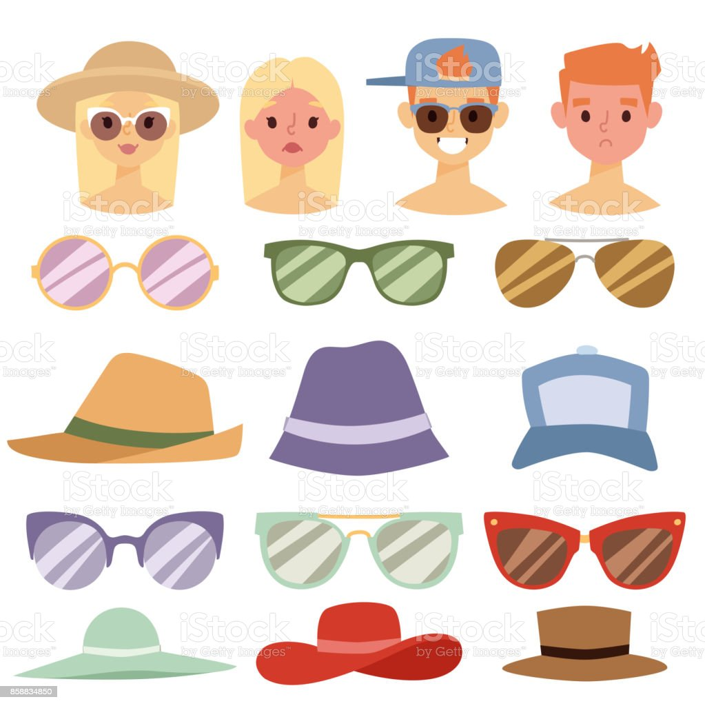 Beach accessories summer hats people avatars collection vector fashion beach travel beautiful head protection cap vector art illustration