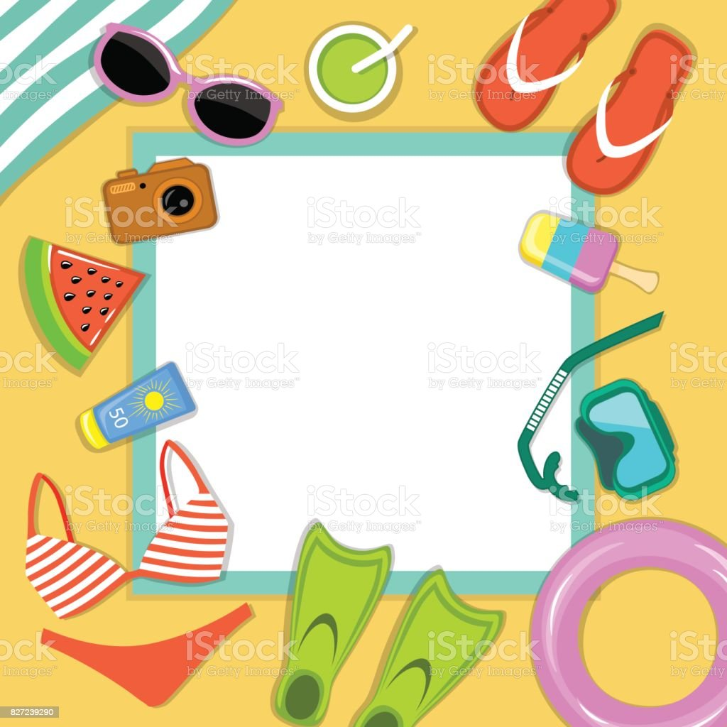 Beach accessories top flat lay view greeting card template vector beach accessories top flat lay view greeting card template vector illustration royalty free beach accessories kristyandbryce Gallery