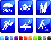 beach activities sticker set