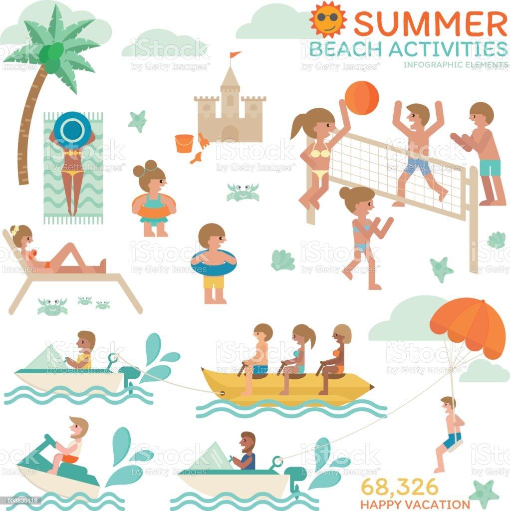 Beach Activities vector art illustration