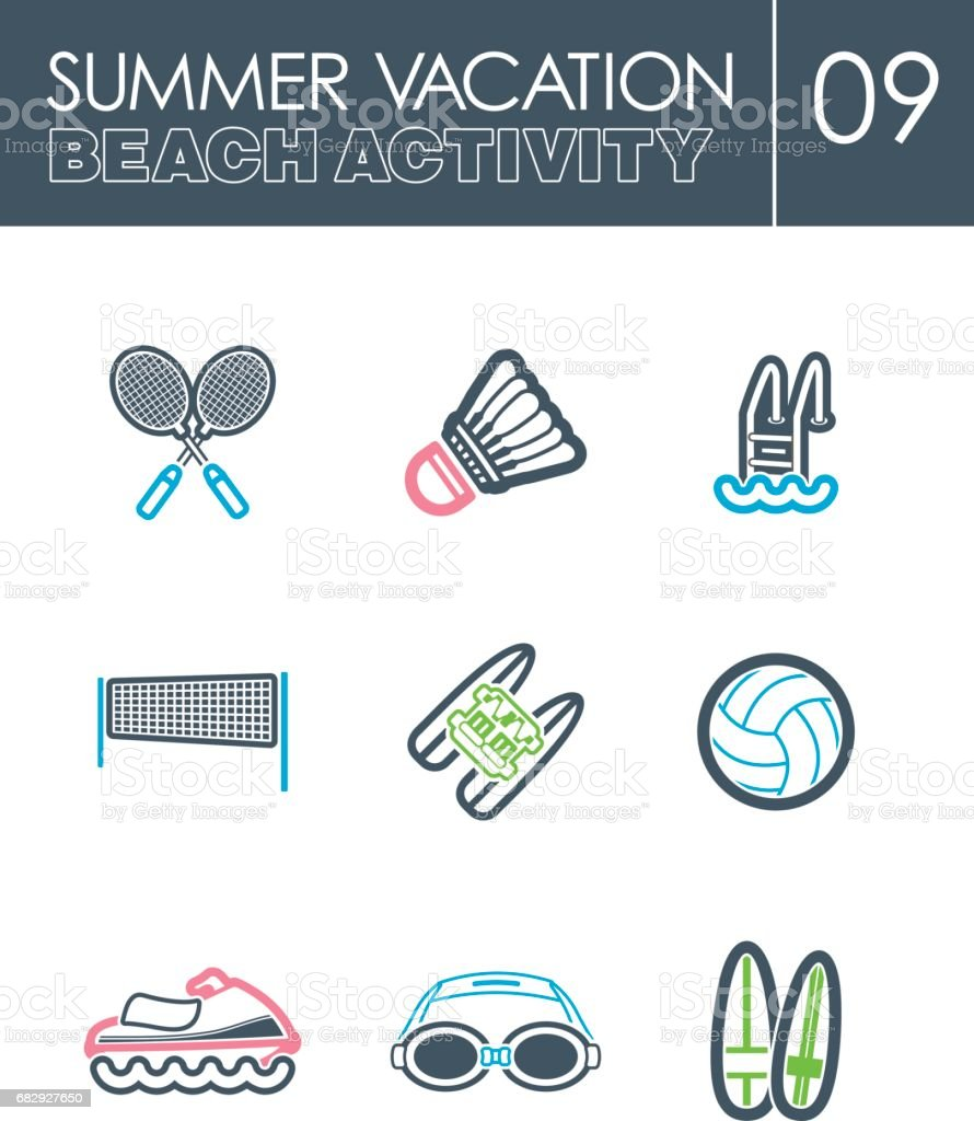 Beach activity icon set. Summer. Vacation royalty-free beach activity icon set summer vacation stock vector art & more images of badminton - sport