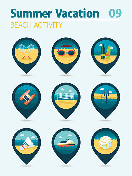 illustrations, cliparts, dessins animés et icônes de beach activity pin map icon set. summer. vacation - pédalo
