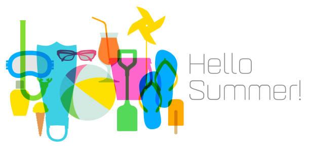 ilustraciones, imágenes clip art, dibujos animados e iconos de stock de playa y vacaciones banners - verano