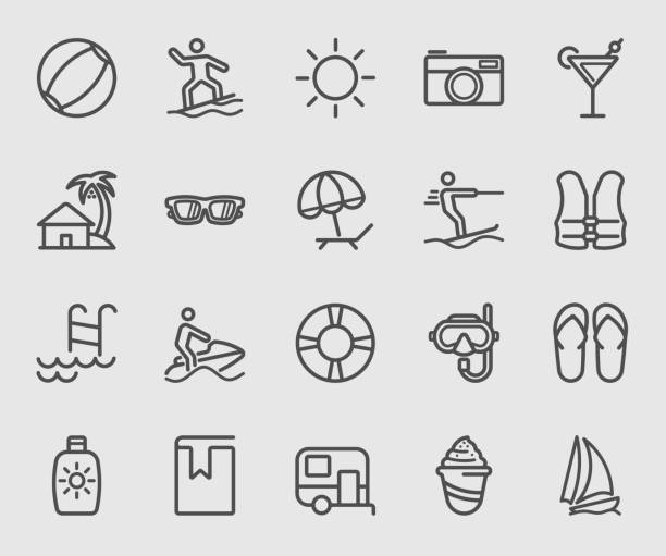 beach and holiday line icon - sun cream stock illustrations
