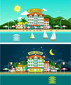 Beach and hotels panorama