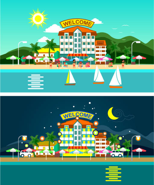 Beach and hotels panorama vector art illustration