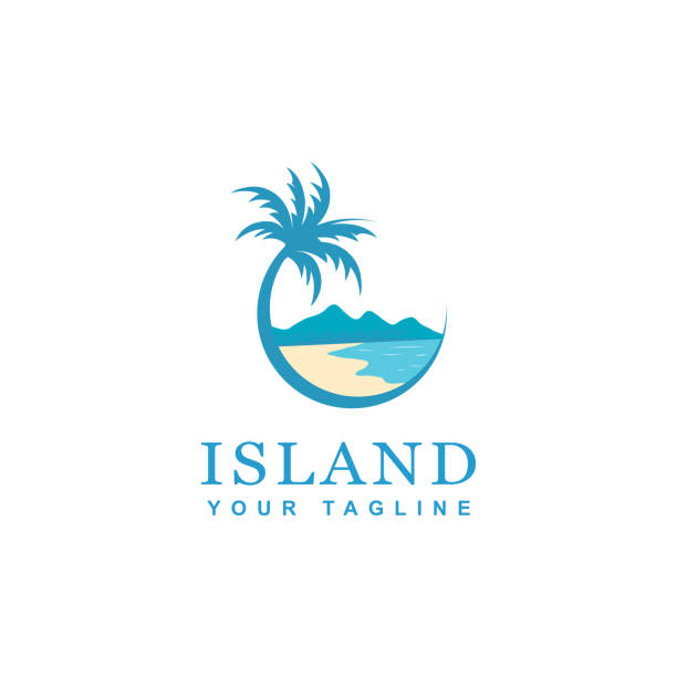 beach and island icon design - palm tree stock illustrations