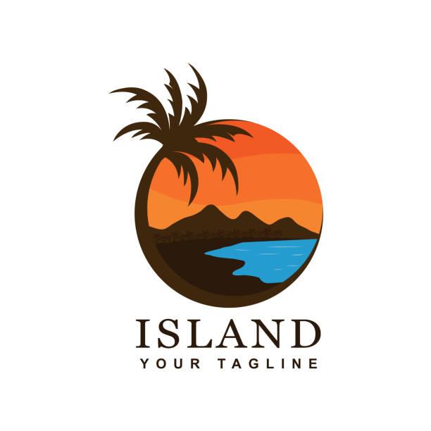 bildbanksillustrationer, clip art samt tecknat material och ikoner med stranden och ön vektor design - delstat hawaii