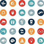 Icons representing various beach related symbols. The icons are vector and symbolize themes of surfing, beach volleyball, beaches, sand, surf, swimwear, and other beach recreation activities.