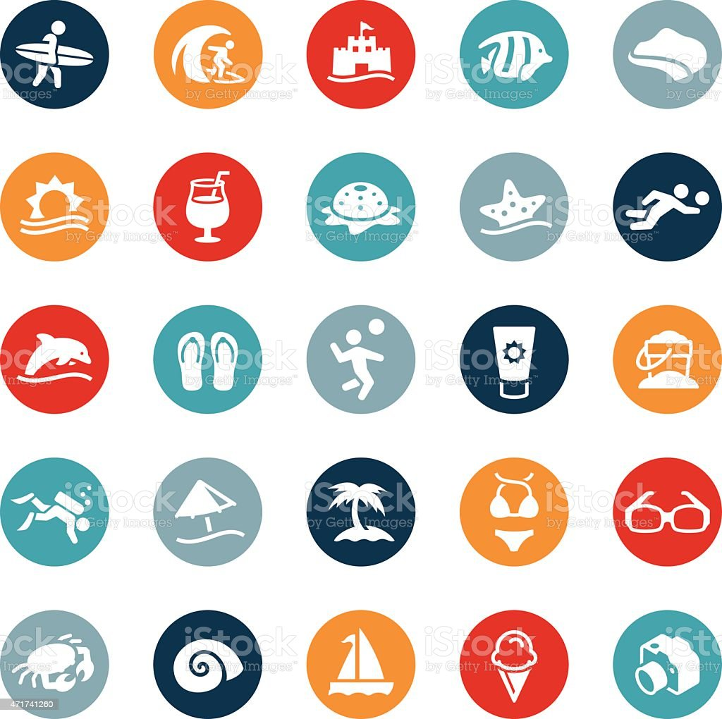 Beach and Recreation Icons vector art illustration
