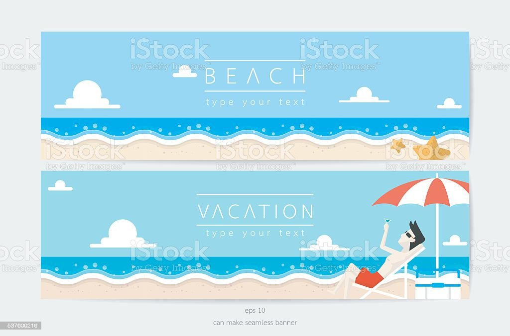 beach and sky in vacation time vector art illustration