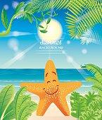 Vector Beach and Starfish