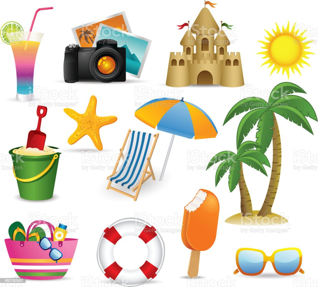 Beach and Summer icon collection vector art illustration
