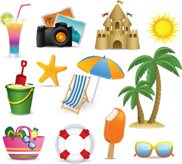 illustrations, cliparts, dessins animés et icônes de plage et icônes d'été collection - chateau de sable