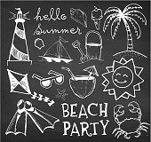Beach and Summer Vector Hand Drawings on Chalk Black Board. This royalty free vector illustration features a set of hand-drawn tropical beach and summer visuals on chalkboard. The various summer drawings create a collage and vary in size. Each drawing can be used independently or as part of this vector graphic set. The drawings have a natural sketchy feel yet carry a high level of detail. The composition fills the entire illustration. The thickness of the stroke line varies to give this image a unique summer look and feel.