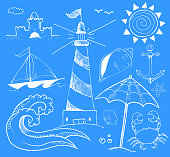Beach and Summer Vector Ink Doodles on Blue Background