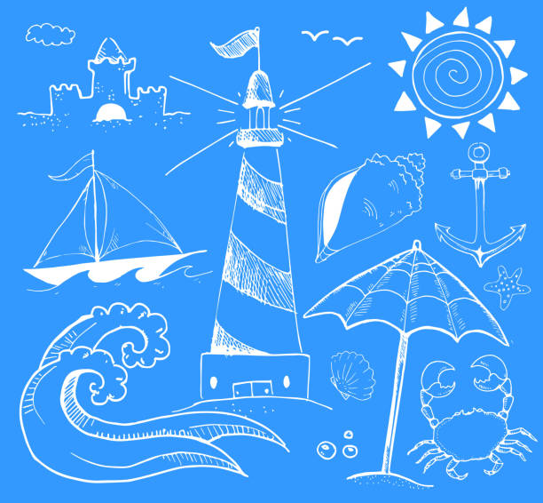 Beach and Summer Vector Ink Doodles on Blue Background Beach and Summer Vector Ink Doodles on Blue Background pattern stock illustrations