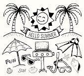 Beach and Summer Vector Ink Doodles on White Background. This royalty free vector illustration features a set of hand-drawn tropical beach and summer visuals on white background. The various summer drawings create a collage and vary in size. Each drawing can be used independently or as part of this vector graphic set. The drawings have a natural sketchy feel yet carry a high level of detail. The composition fills the entire illustration. The thickness of the stroke line varies to give this image a unique summer look and feel.