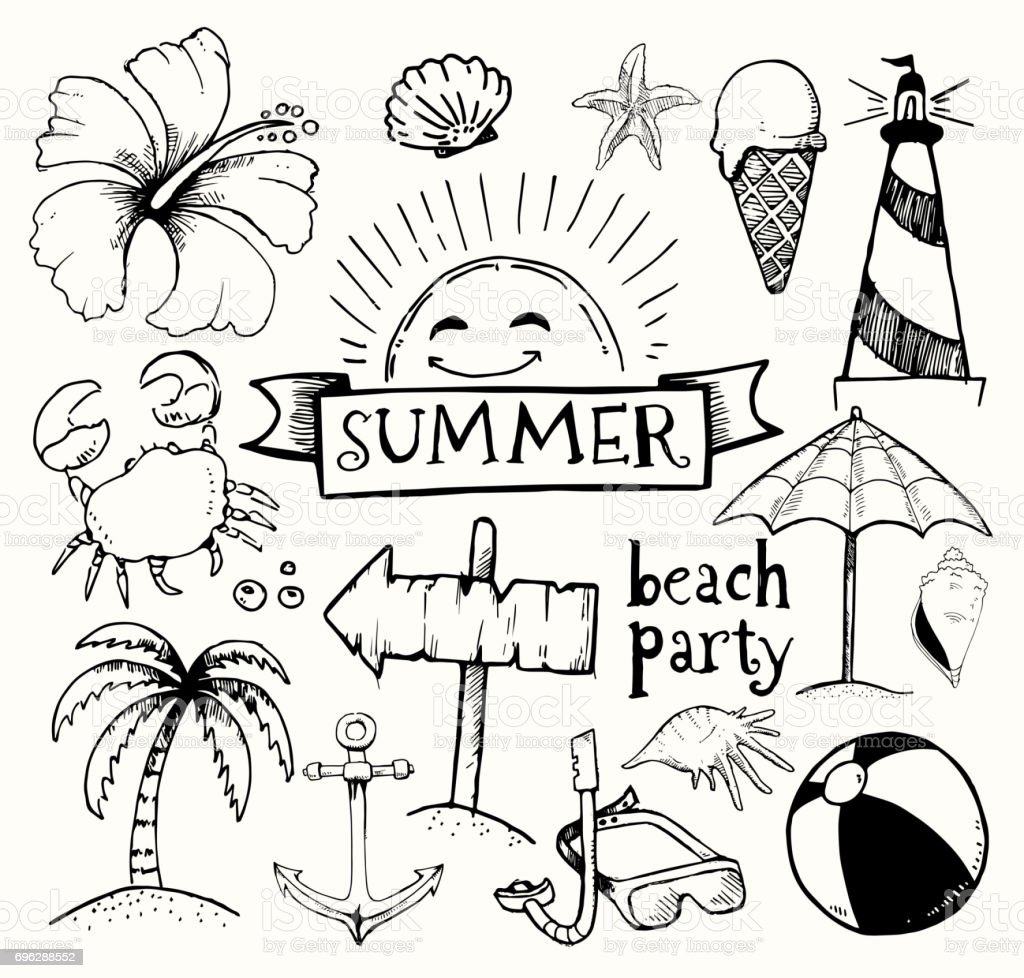 Beach And Summer Vector Ink Doodles On White Background