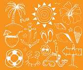 Beach and Summer Vector Ink Doodles on Yellow Background
