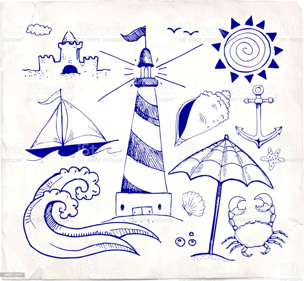 beach and summer vector pen sketches on white paper stock vector