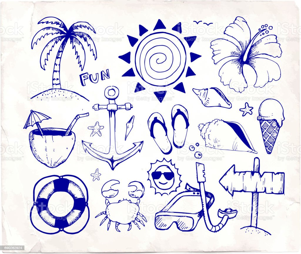 Beach And Summer Vector Pen Sketches On White Paper Stock