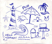 Beach and Summer Vector Pen Sketches on White Paper. This royalty free vector illustration features a set of hand-drawn tropical beach and summer visuals on white background. The various summer drawings create a collage and vary in size. Each drawing can be used independently or as part of this vector graphic set. The drawings have a natural sketchy feel yet carry a high level of detail. The composition fills the entire illustration. The thickness of the stroke line varies to give this image a unique summer look and feel.