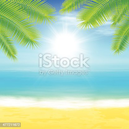 istock Beach and tropical sea with palmtree leaves 477211672