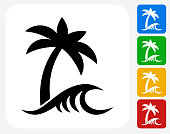 Beach and Waves Icon. This 100% royalty free vector illustration features the main icon pictured in black inside a white square. The alternative color options in blue, green, yellow and red are on the right of the icon and are arranged in a vertical column.