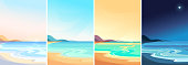 Beach at different times of day. Beautiful landscapes in vertical orientation.
