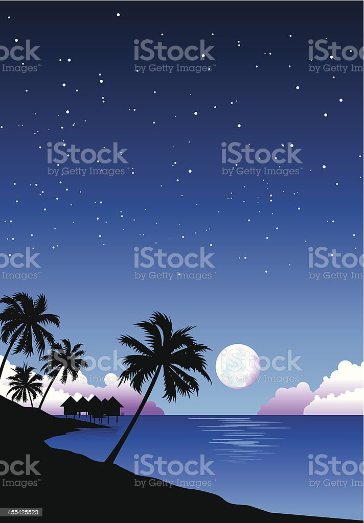 Beach at Night Illustration royalty-free beach at night illustration stock vector art & more images of backgrounds