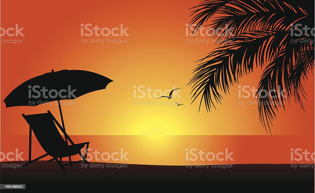 Beach at Sunset vector art illustration