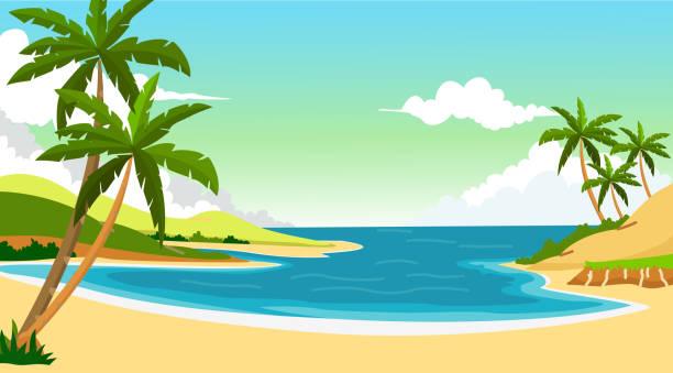 ilustraciones, imágenes clip art, dibujos animados e iconos de stock de fondo para el diseño de la playa - playa