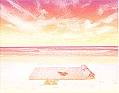 Etching illustration of beach, beach towel and starfish.