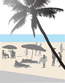 A vector silhouette illustration of a tropical beachfront full of people and families.  Blue water is in the background and a palm tree is outfront.