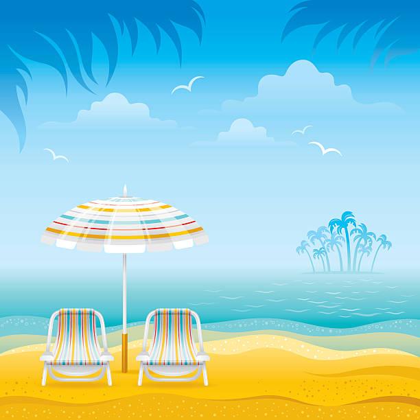 strand-hintergrund - sonnenstuhl stock-grafiken, -clipart, -cartoons und -symbole