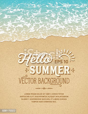 Summer, beach background with sample text and design elements.Only gradients used.File is layered with global colors.Fonts used: Hanley Font Collection