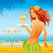 Day beach background with beautiful hula girl and tropical cocktail