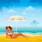 Day beach background with beautiful tan girl and umbrella