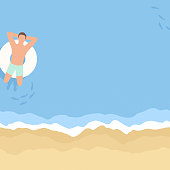 This illustration of a man relaxing at the beach on an inflatable ring would make an ideal background for your summer design project. The illustrator 10 vector file can be coloured and customized to suit your needs and scaled infinitely without any loss of quality.