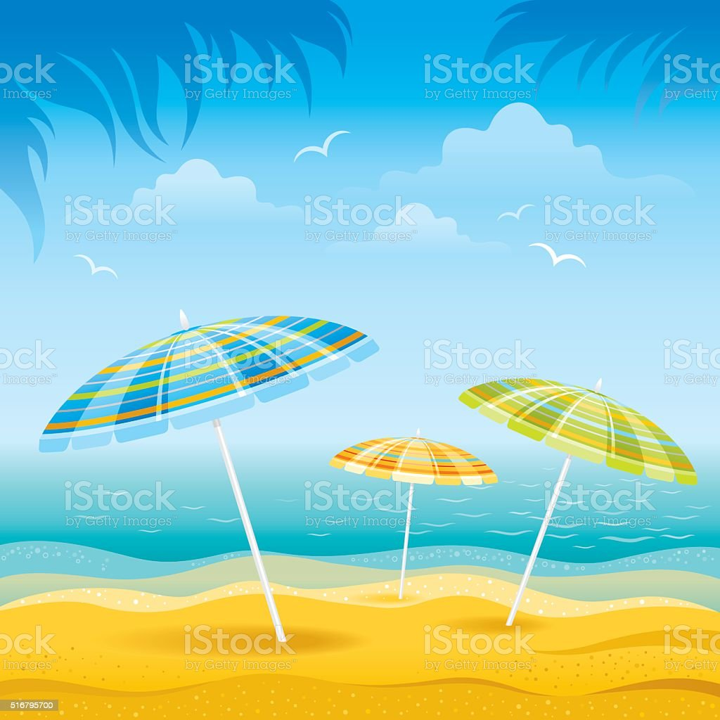 Beach background with umbrellas vector art illustration