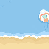 This illustration of a woman relaxing at the beach on an inflatable ring would make an ideal background for your summer design project. The illustrator 10 vector file can be coloured and customized to suit your needs and scaled infinitely without any loss of quality.