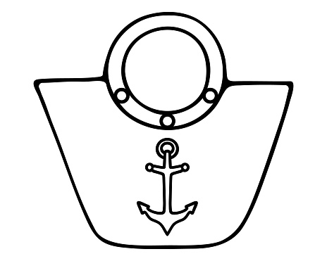 Beach bag and anchor. Sketch. Vector illustration. Outline on an isolated white background. Female accessory with anchor-shaped ornament. Doodle style. Marine theme. Large bag for personal belongings. A must for outdoor trips in the summer.