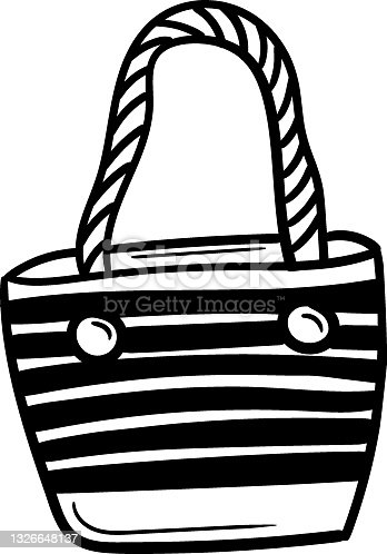 istock Beach bag hand drawn vector doodle illustration. Cartoon beach bag. Isolated on white background. Hand drawn summer element 1326648137