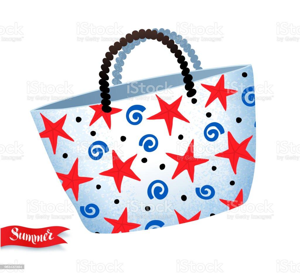 beach bag isolated on white background - Grafika wektorowa royalty-free (Akcesorium osobiste)